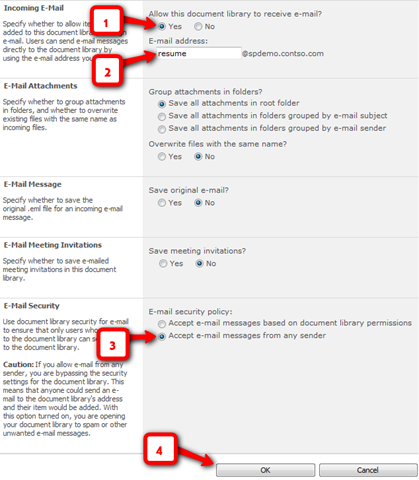 redirect external email to exchange 2010